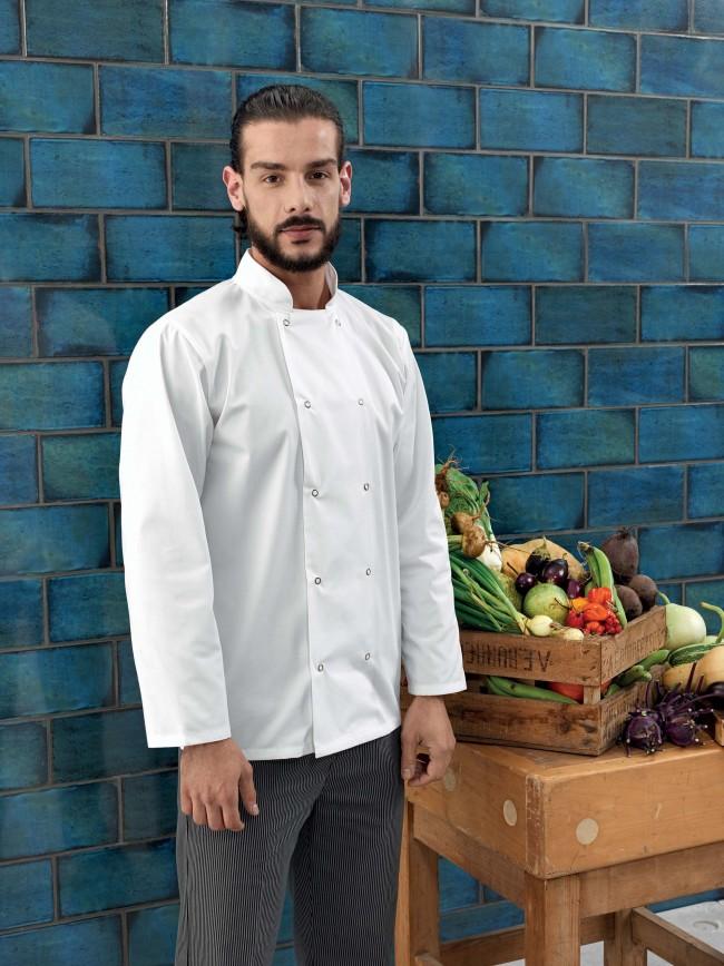 Veste de cuisine manches longues à boutons pression PR665 - White en vente chez Textile Direct