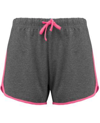 Short de sport femme PA1021 - Grey Heather / Fluo Pink
