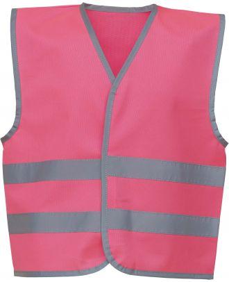 Gilet enfant avec bordures et bandes réfléchissantes YHVW102CH - Pink