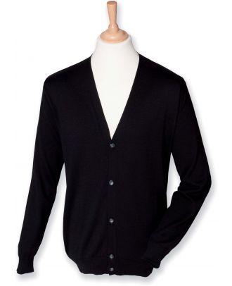 Cardigan homme boutonné H722 - Black