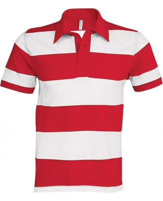 Polo rugby rayé manches courtes K237 - Red / White