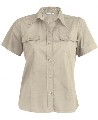 Chemise manches courtes femme popeline Tropical Lady K572 - Beige