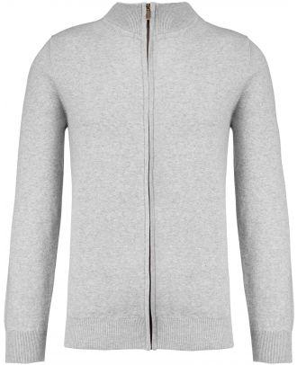 Cardigan premium zippé K984 - Light grey heather