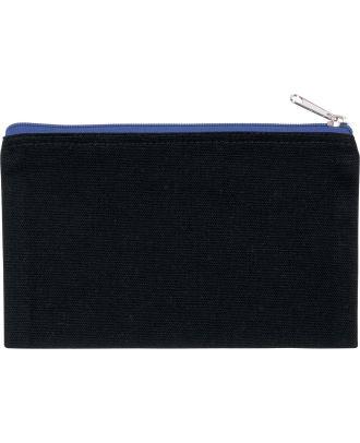 Pochette en coton canvas personnalisable KI0720 - Black / Royal Blue