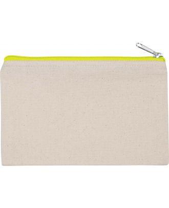 Pochette en coton canvas personnalisable KI0720 - Natural / Fluorescent Yellow