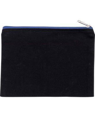 Pochette en coton canvas personnalisable KI0721 - Black / Royal Blue