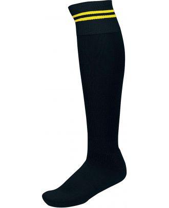 Chaussettes de sport rayées PA015 - Black / Sporty Yellow