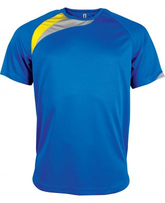 T-shirt unisexe manches courtes sport PA436 - Sporty Royal Blue / Sporty Yellow / Storm Grey