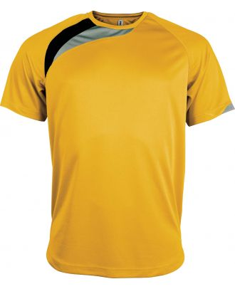 T-shirt unisexe manches courtes sport PA436 - Sporty Yellow / Black / Storm Grey