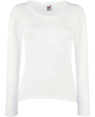 T-shirt femme manches longues Valueweight SC61404 - White de face