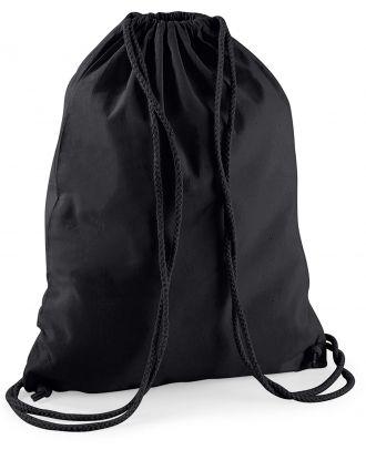 Gymsac en coton W110 - Black / Black - 37 x 46 cm de dos